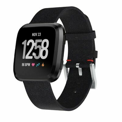 $ CDN8.23 • Buy Woven Fabric Replacement Wristband Strap Watch Band For Fitbit Versa 2/1 Black