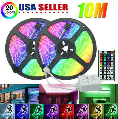 $17.99 • Buy 32FT 10M Flexible Strip Light 3528 RGB LED Remote Fairy Lights Room TV Party Bar