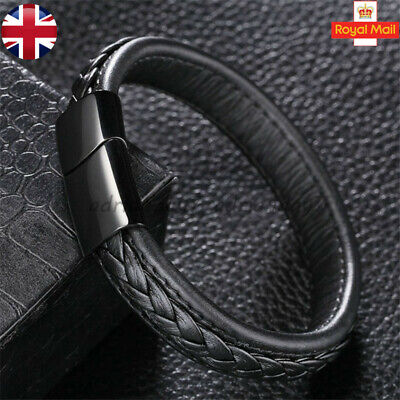Mens Bracelet Leather Quality Braided Bracelets Wristbands Stainless Steel Clasp • 6.99£