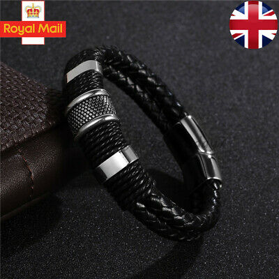 Mens Genuine Flat Leather Braided Wristband Wrap Bracelet Magnetic Steel Clasp • 6.49£