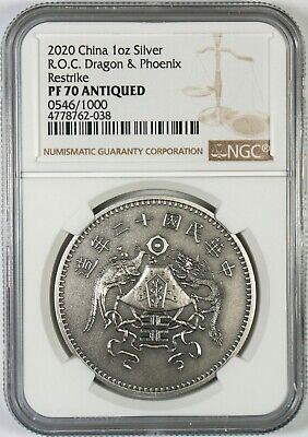 $8.50 • Buy 2020 China Antiqued 1 Oz Silver Dragon & Phoenix Dollar Medal Restrike NGC PF70