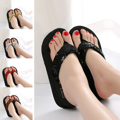 $4.99 • Buy Women Wedge Thick Slippers Flip Flops Platform Thong Sandals Beach Casual Shoes
