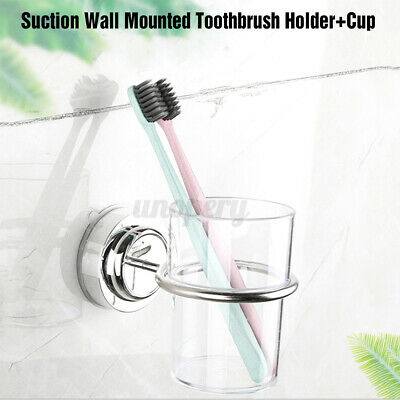 Bathroom Suction Wall Mounted Single Stainless Toothbrush Tumbler Holder W/ Cup • 10.01£