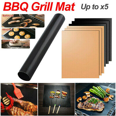 AU19.56 • Buy BBQ Grill Mat Reusable Bake Sheet Resistant Teflon Meat Barbecue Non-Stick Party