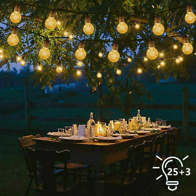 25FT Outdoor Festoon Globe String Lights Mains Powered 25 G40 Bulbs Warm White • 18.99£