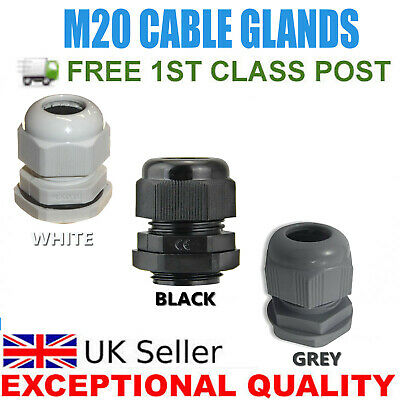 £4.99 • Buy M20 Ip68 20mm White Black Grey Waterproof Compression Cable Gland Locknut Washer