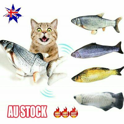 AU11.35 • Buy 12   USB Electric Interactive Cat Toy Wagging Fish Realistic Plush Toy Au STOCK