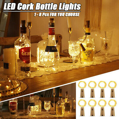 Bottle Lights Cork LED Fairy String Battery Shaped Wedding Party Home Decor • 1.79£