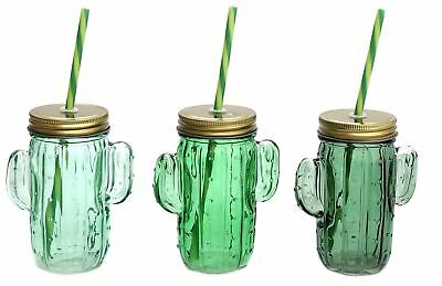 Green Glass Cactus Drinking Jar With Screwtop Lid And Straw ~ Colour Vary • 5.99£