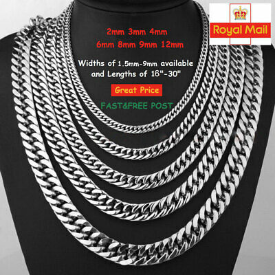 2-12mm Men's Stainless Steel Silver 316L Curb Link Chain Chunky Necklace Pendant • 4.55£