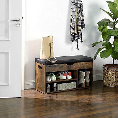 £54.99 • Buy Vintage Shoe Bench With Cushion Storage Bench With Padded Seat Shelves LHS30BX