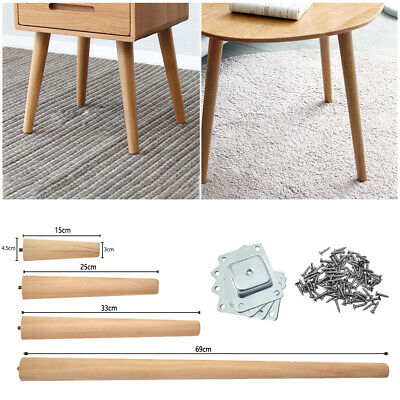 £13.99 • Buy 4 × Wooden Table Legs Tapered Pine Beech Ash Table Chair Stool Chest 4 Size