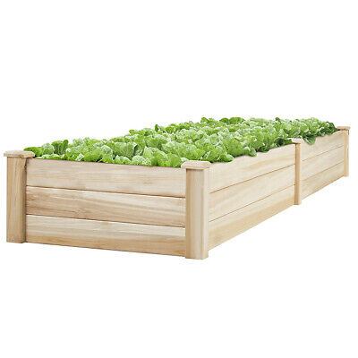 Wooden Raised Grow Bed Garden Trough Lawn Vegetable Flower Planter Box Rectangle • 45.95£