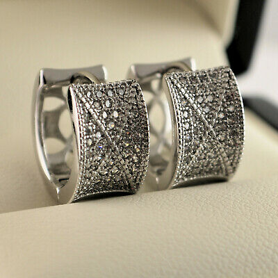 925 Sterling Silver Filled Clear CZ Crystal Half Band Huggie Hoop Earrings • 7.99£