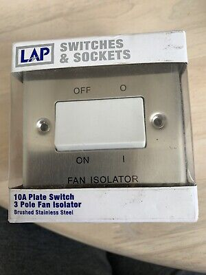 10A Plate Switch 3 Pole Fan Isolator Brushed Stainless Steel • 3.95£