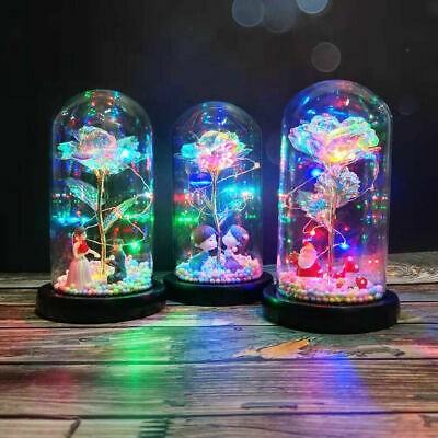 AU30.98 • Buy Colorful Romantic LED Glow Glass Light Artificial Rose Flower Lamp Valentine