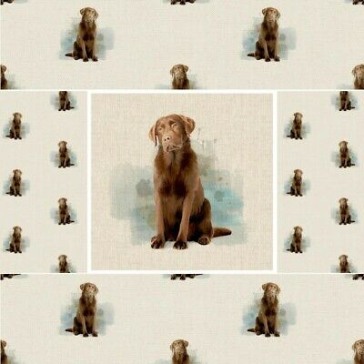 Cotton Rich Linen Fabric Chocolate Labrador Retriever Dog Or Panel • 4£