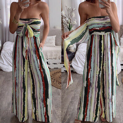 Ladies Playsuit Jumpsuit Wide Leg  Bandeau Elasticated Summer Strapless Womens • 10.16£