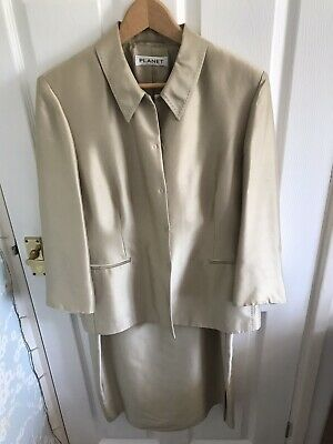 Planet Dress And Jacket Wedding Suit 100% Silk. Size 16 • 29.99£