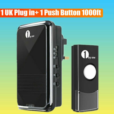 1byone Wireless Waterproof Door Bell Plug-in Cordless Door Ring Chime Kit 1000ft • 12.89£