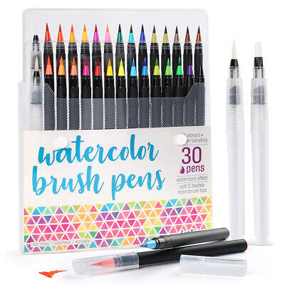 $14.99 • Buy 30PCS Watercolor Paint Brush Pens Markers For Water Color Calligraphy Lettering