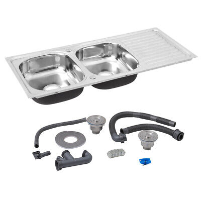 Kitchen Sink Stainless Steel Single/Double Bowl With Drainer Waste Reversible • 95.94£