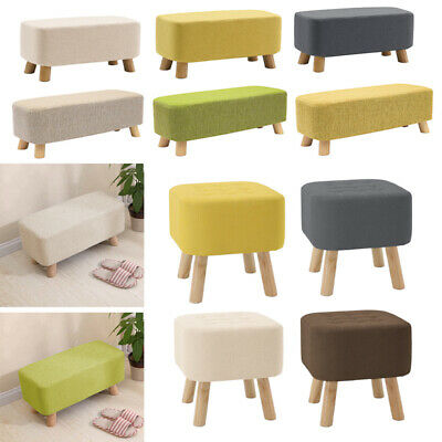 Linen Fabric Padded Stool Bench Footstool Pouffe Living Room Bedroom Footrest • 28.95£