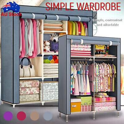 AU38.59 • Buy Large Portable Clothes Closet Wardrobe Storage Cabinet Organizer With Shelves
