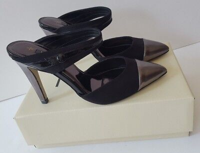 New Next Ladies Black Suede Pewter Metallic Toe  2 Part High Heels Shoes Size 5 • 24.95£