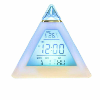 AU17.99 • Buy 7 Color Mute LED Change Digital Bedroom Child Night Light Glowing Alarm Clock AU