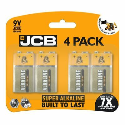 4 X JCB 9V SUPER Alkaline Batteries PP3 NEW BuiltToLast LR22 MN1604 Smoke Alarm • 5.20£