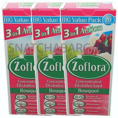3 X ZOFLORA CONCENTRATED DISINFECTANT BOUQUET 500ml • 17.90£