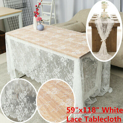 $17.76 • Buy 150x300cm Rectangle White Lace Tablecloth Party Wedding Table Cloth Cover  /