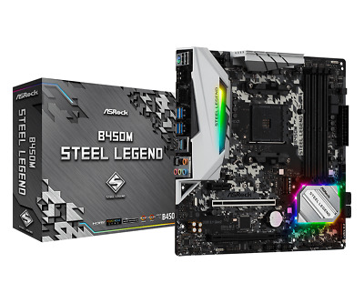 AU159 • Buy ASRock B450M AMD Socket AM4 Gaming Motherboard Steel Legend ATX CrossfireX DDR4