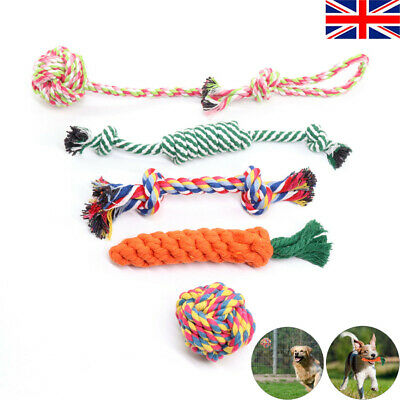 5Pc Dog Rope Chew Toys Kit Tough Strong Knot Ball Pet Puppy Cotton Teething Toy • 6.99£