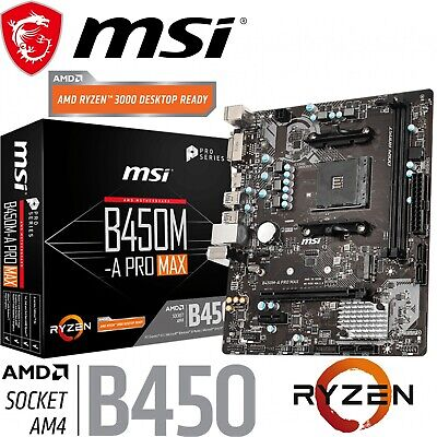 AU125 • Buy MSI B450M-A PRO MAX AMD Gaming Motherboard MicroATX AM4 DDR4 M.2 HDMI DVI-D