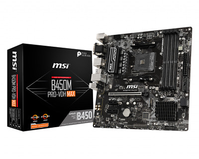 AU145 • Buy MSI B450M PRO-VDH MAX AMD Gaming Motherboard MicroATX AM4 DDR4 M.2 USB 3 HDMI