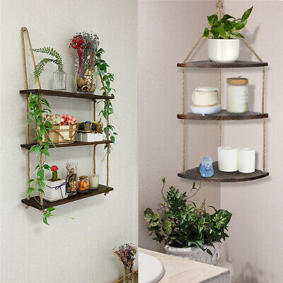 Wooden Retro Floating Wall Corner Shelves Shelf Unit Storage Display Plant Racks • 13.96£