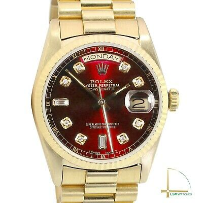 $ CDN18674.85 • Buy Rolex Day-Date Mens 36mm 18KY Gold Red Diamond Dial Fluted President Band Watch