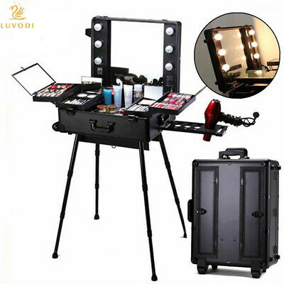 Cosmetic Make Up Travel Trolley Artist Pro Rolling Case With Light Mirror Box UK • 199.97£