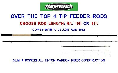 RON THOMPSON 24-TON CARBON O.T.T OVER THE TOP 2pc 4 TIP POWER FEEDER ROD QUIVER • 64.99£