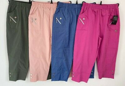 Women's Ladies Cherry Berry Soft Cotton Stretch Capri Cropped Trousers Pants • 12.99£