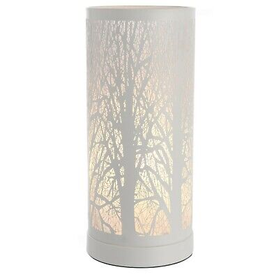 New White Tree Scene Touch Pad Cylinder Table Lamp Dimmer Light Bedside • 24.95£