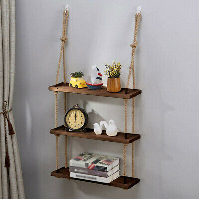 3 Tiers Rustic Wooden Wall Hanging Rope Shelf Mounted Floating Storage Unit Home • 13.99£