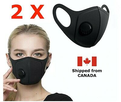 $ CDN6.99 • Buy [2-Pack] - Reusable Washable Face Mask With Breathing Valve