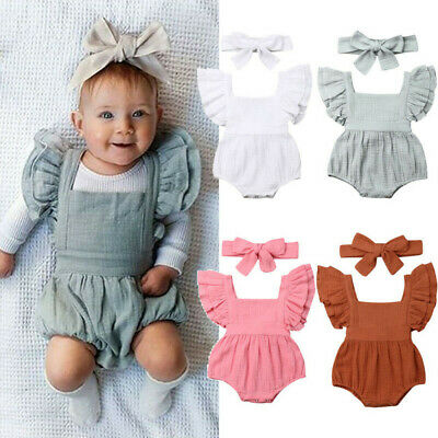 UK Newborn Infant Kid Baby Girls Ruffle Backless Romper Bodysuit Outfits Clothes • 7.39£