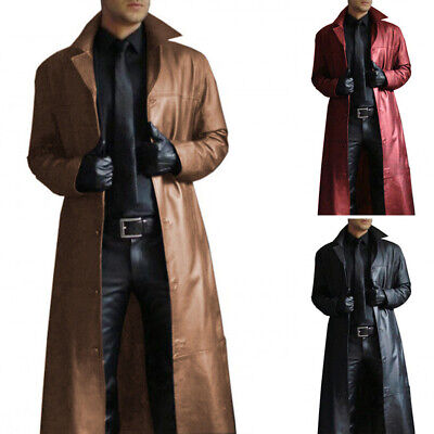 Casual Mens Steampunk Gothic Long Coat Windbreaker Costume Faux Leather Jacket • 29.75£