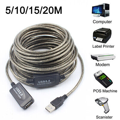 AU25.20 • Buy USB 2.0 Extender Lead Black Extension Cable Type A Repeater Extension 10&15 &20M