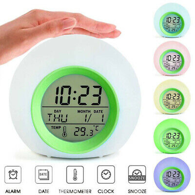 AU18.98 • Buy 7 Color LED Round Light Gradient Night Alarm Clock Bedroom Home Gift Child Kids