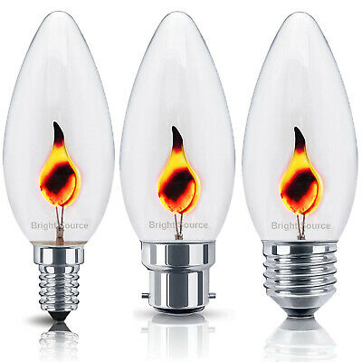 1x 3W FLICKER FLAME Candle Light Bulb HALLOWEEN Lamps E14 E27 B22 B15 240v • 3.97£